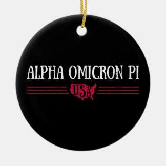 Alpha Omicron Pi USA Christmas Ornament