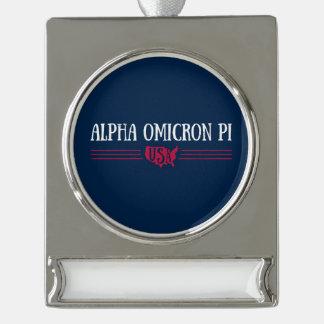 Alpha Omicron Pi USA Silver Plated Banner Ornament