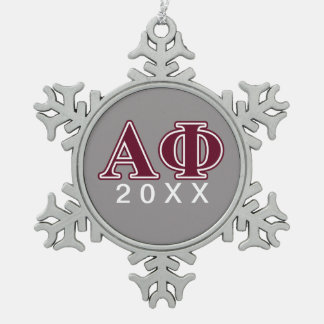Alpha Phi Bordeaux Letters Snowflake Pewter Christmas Ornament