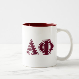 Alpha Phi Bordeaux Letters Two-Tone Coffee Mug