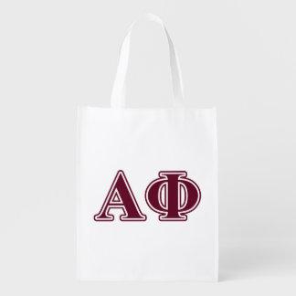 Alpha Phi Bordeaux Letters Grocery Bags