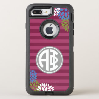 Alpha Phi | Monogram Stripe Pattern OtterBox Defender iPhone 7 Plus Case