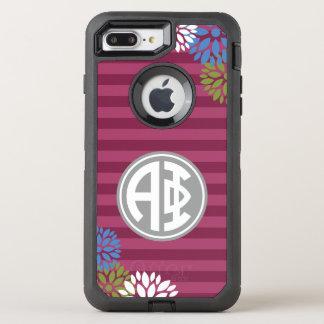 Alpha Phi | Monogram Stripe Pattern OtterBox Defender iPhone 8 Plus/7 Plus Case