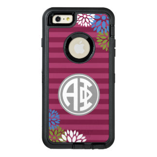 Alpha Phi | Monogram Stripe Pattern OtterBox Defender iPhone Case