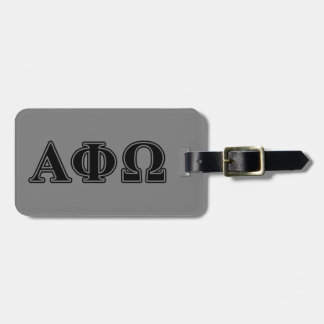 Alpha Phi Omega Black Letters Luggage Tag