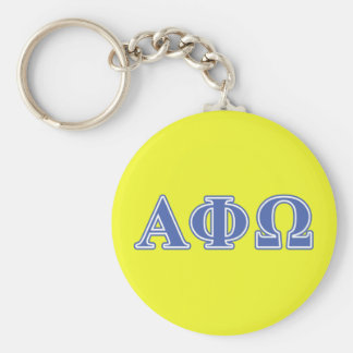 Alpha Phi Omega Blue Letters Basic Round Button Key Ring