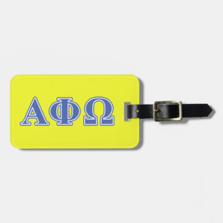 Alpha Phi Omega Blue Letters Luggage Tag