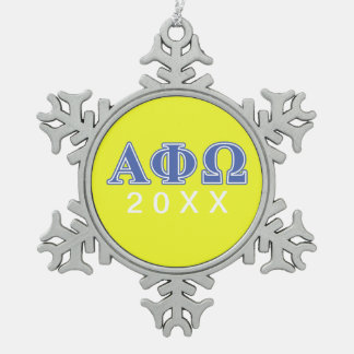 Alpha Phi Omega Blue Letters Snowflake Pewter Christmas Ornament
