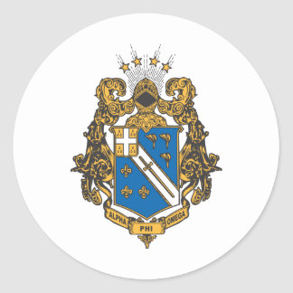 Alpha Phi Omega Color - Crest Classic Round Sticker