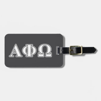 Alpha Phi Omega White and Blue Letters Luggage Tag
