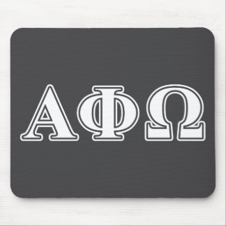 Alpha Phi Omega White and Blue Letters Mouse Mat