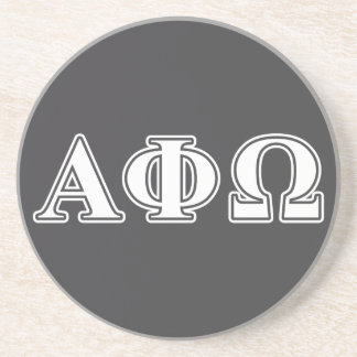 Alpha Phi Omega White and Blue Letters Sandstone Coaster