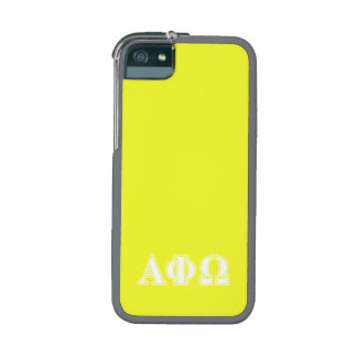 Alpha Phi Omega White and Yellow Letters Cover For iPhone 5/5S