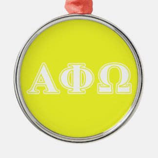 Alpha Phi Omega White and Yellow Letters Christmas Ornament