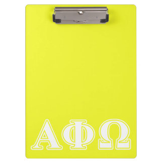Alpha Phi Omega White and Yellow Letters Clipboard