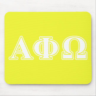 Alpha Phi Omega White and Yellow Letters Mouse Mat