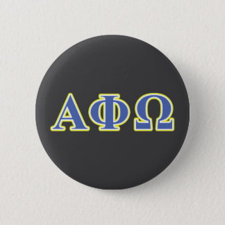 Alpha Phi Omega Yellow and Blue Letters 6 Cm Round Badge