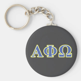 Alpha Phi Omega Yellow and Blue Letters Basic Round Button Key Ring