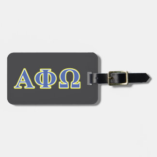 Alpha Phi Omega Yellow and Blue Letters Luggage Tag