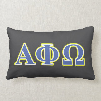 Alpha Phi Omega Yellow and Blue Letters Lumbar Cushion