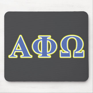 Alpha Phi Omega Yellow and Blue Letters Mouse Mat