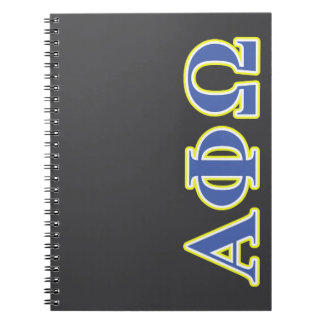 Alpha Phi Omega Yellow and Blue Letters Notebook