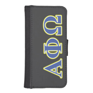 Alpha Phi Omega Yellow and Blue Letters iPhone 5 Wallet Cases