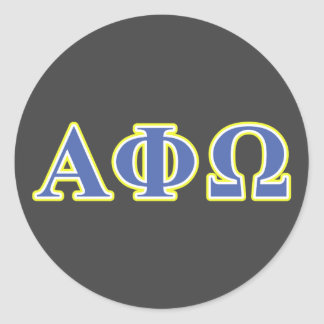 Alpha Phi Omega Yellow and Blue Letters Round Sticker
