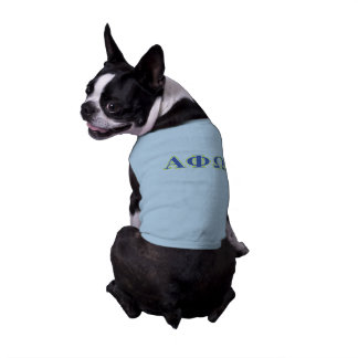 Alpha Phi Omega Yellow and Blue Letters Sleeveless Dog Shirt