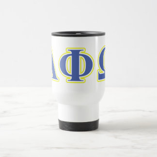 Alpha Phi Omega Yellow and Blue Letters Travel Mug