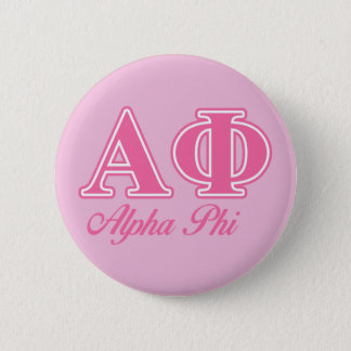 Alpha Phi Pink Letters 6 Cm Round Badge