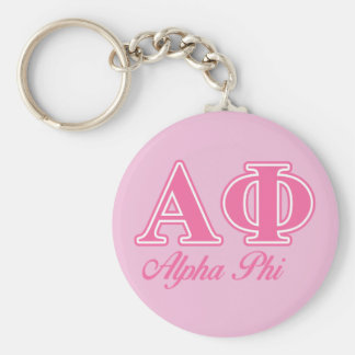 Alpha Phi Pink Letters Basic Round Button Key Ring