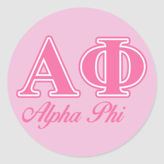 Alpha Phi Pink Letters Classic Round Sticker