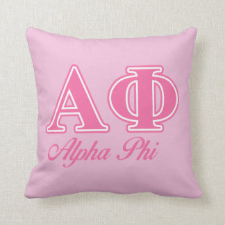 Alpha Phi Pink Letters Cushion