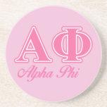 Alpha Phi Pink Letters Drink Coaster