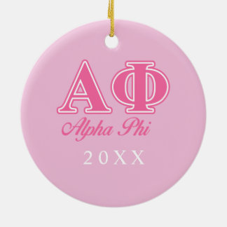 Alpha Phi Pink Letters Round Ceramic Decoration