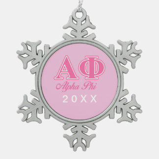 Alpha Phi Pink Letters Snowflake Pewter Christmas Ornament