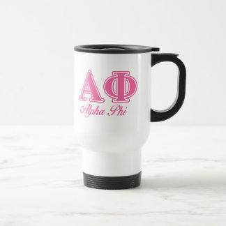 Alpha Phi Pink Letters Travel Mug