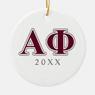 Alpha Phi Silver and Bordeaux Letters Christmas Ornament