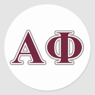 Alpha Phi Silver and Bordeaux Letters Classic Round Sticker