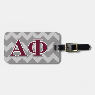 Alpha Phi Silver and Bordeaux Letters Luggage Tag