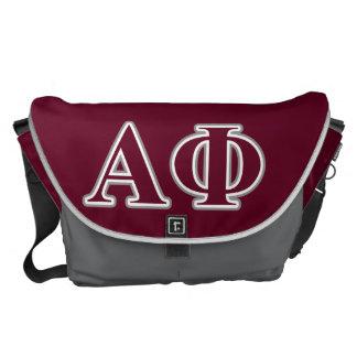 Alpha Phi Silver and Bordeaux Letters Messenger Bags