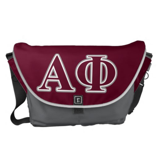 Alpha Phi Silver and Bordeaux Letters Messenger Bags