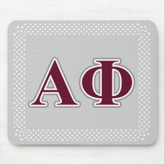 Alpha Phi Silver and Bordeaux Letters Mouse Mat