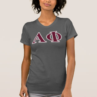 Alpha Phi Silver and Bordeaux Letters T-Shirt