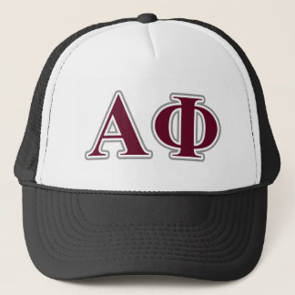 Alpha Phi Silver and Bordeaux Letters Trucker Hat