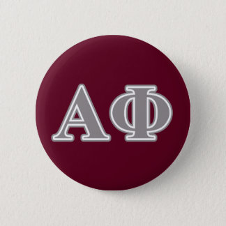 Alpha Phi Silver Letters 6 Cm Round Badge