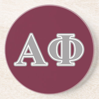 Alpha Phi Silver Letters Beverage Coasters