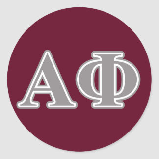 Alpha Phi Silver Letters Classic Round Sticker