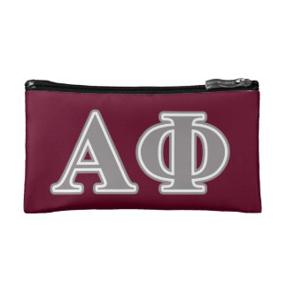 Alpha Phi Silver Letters Cosmetics Bags
